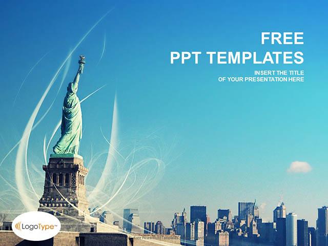 自由女神像PPT模板下载_预览图1