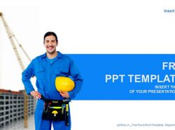 建筑工人/建筑行业蓝色PPT模板下载