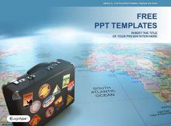 贴满标签的旅行箱背景世界地图PPT模板下载