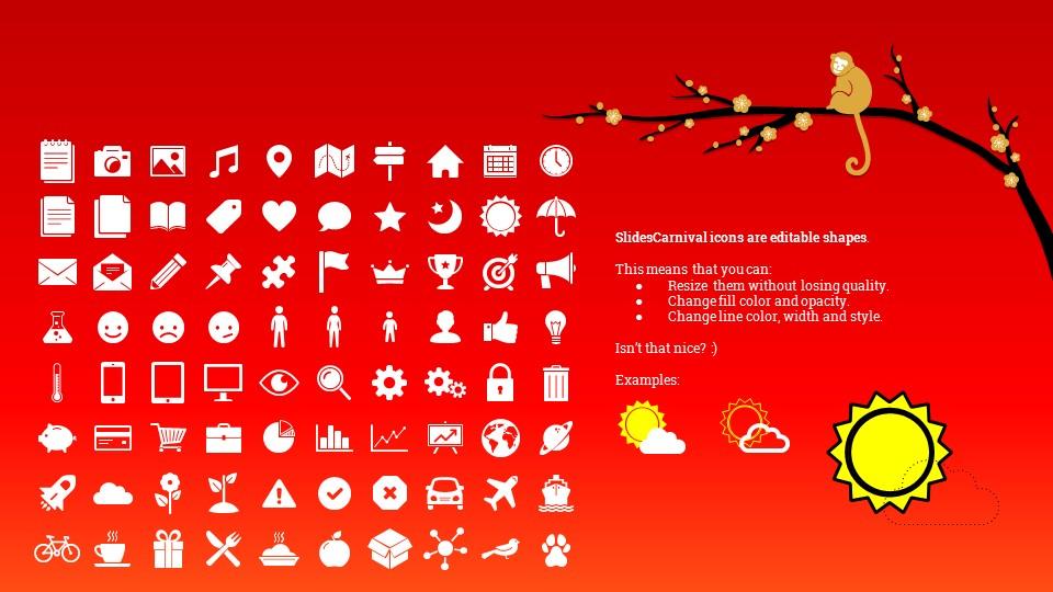 猴年春节中国红背景梅花PPT模板_预览图27