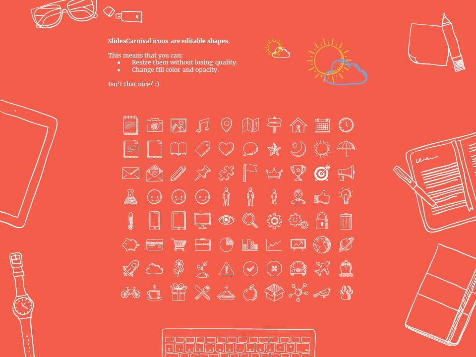 可爱风格卡通线条图案个人简历PPT模板下载_预览图28