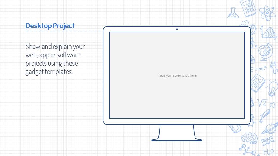 可爱线条画蓝色网格背景PPT模板下载_预览图23