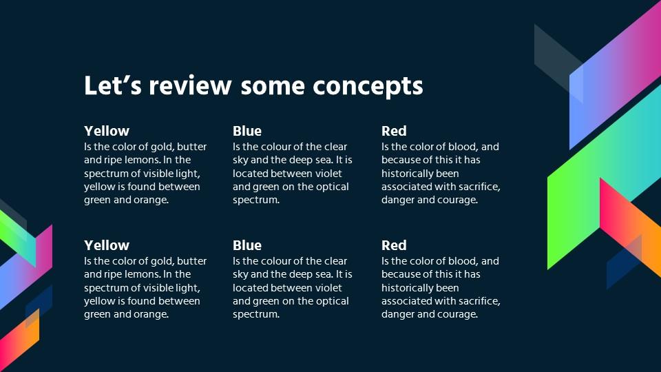 超绚丽商务风-深蓝背景彩色四边形花边PPT模板下载_预览图18