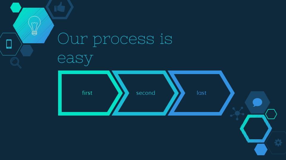 六边形简易图标深蓝色背景PPT模板下载_预览图17
