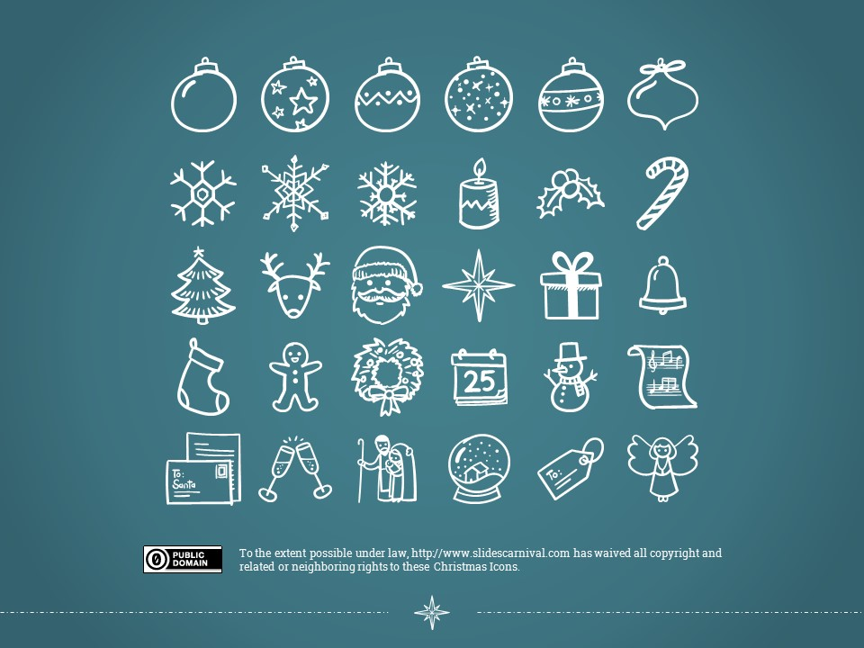 圣诞节卡通线条画红蓝交替背景幻灯片模板下载_预览图25
