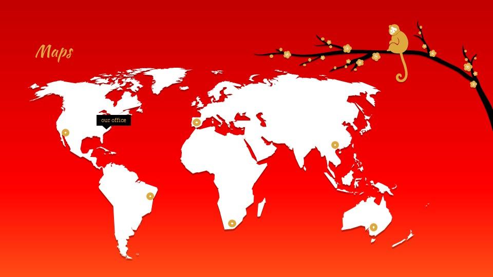 猴年春节中国红背景梅花PPT模板_预览图14