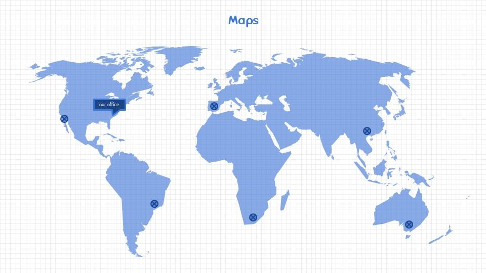 可爱线条画蓝色网格背景PPT模板下载_预览图14