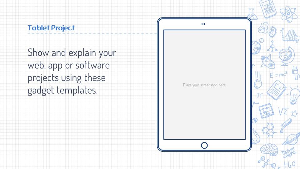 可爱线条画蓝色网格背景PPT模板下载_预览图22