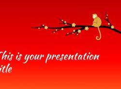猴年春节中国红背景梅花PPT模板