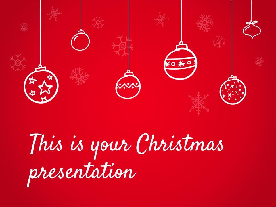 圣诞节卡通线条画红蓝交替背景幻灯片模板下载_预览图1