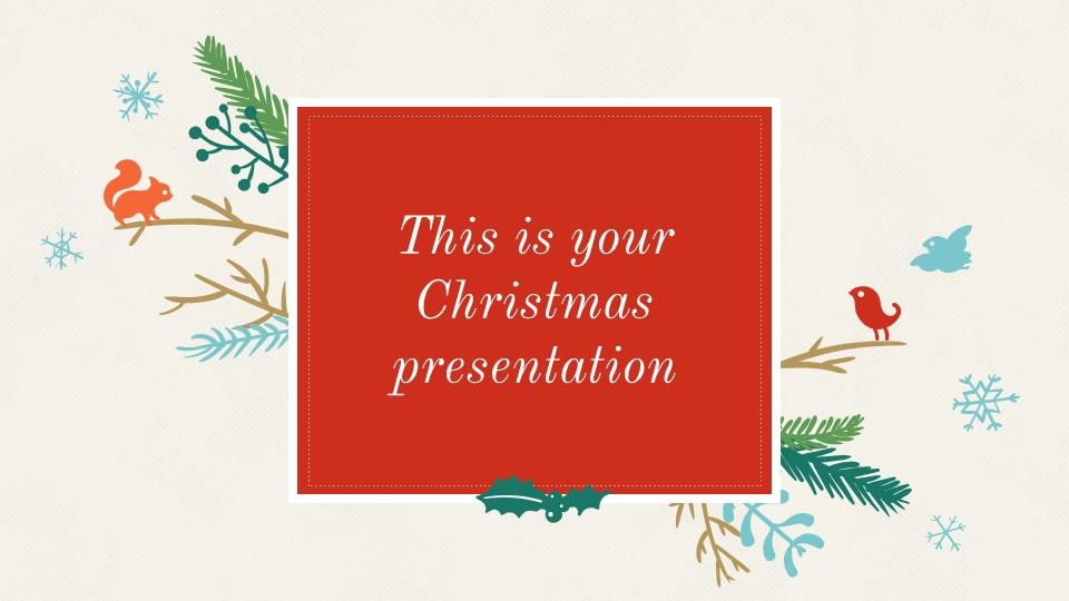 圣诞节插画风彩色PPT模板下载_预览图1