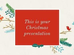 圣诞节插画风彩色PPT模板下载