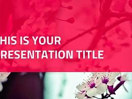 粉紅色自然風景系列PPT模板下載
