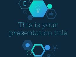 六边形简易图标深蓝色背景PPT模板下载
