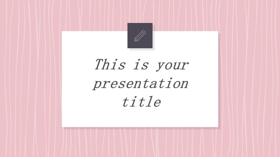 可爱粉色系粉红灰线条背景商务/个人总结汇报PPT模板下载_预览图1