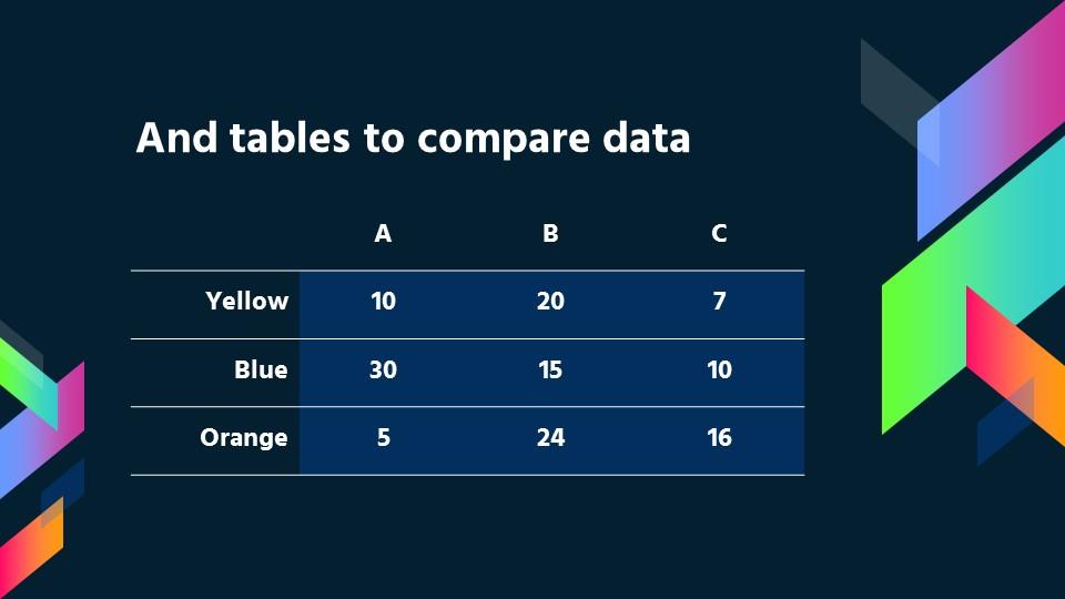 超绚丽商务风-深蓝背景彩色四边形花边PPT模板下载_预览图13