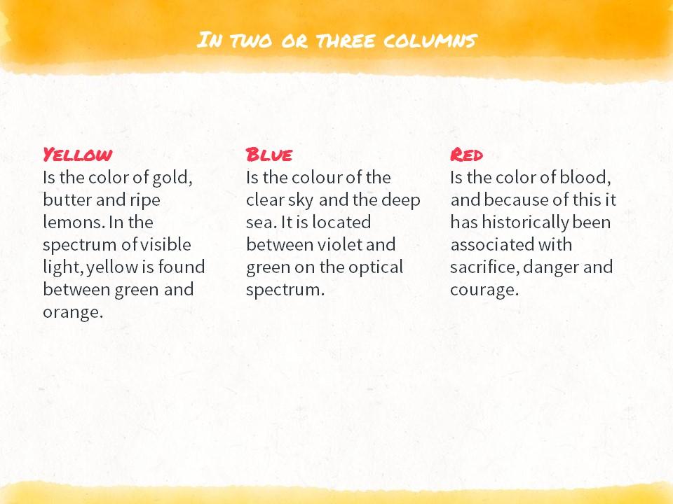 红黄蓝水彩线条画风格艺术PPT模板下载_预览图9