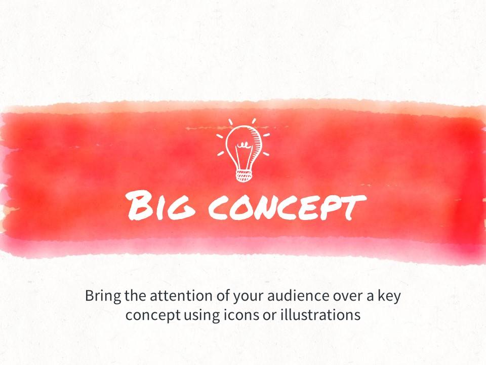 红黄蓝水彩线条画风格艺术PPT模板下载_预览图7