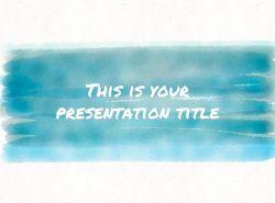 红黄蓝水彩线条画风格艺术PPT模板下载