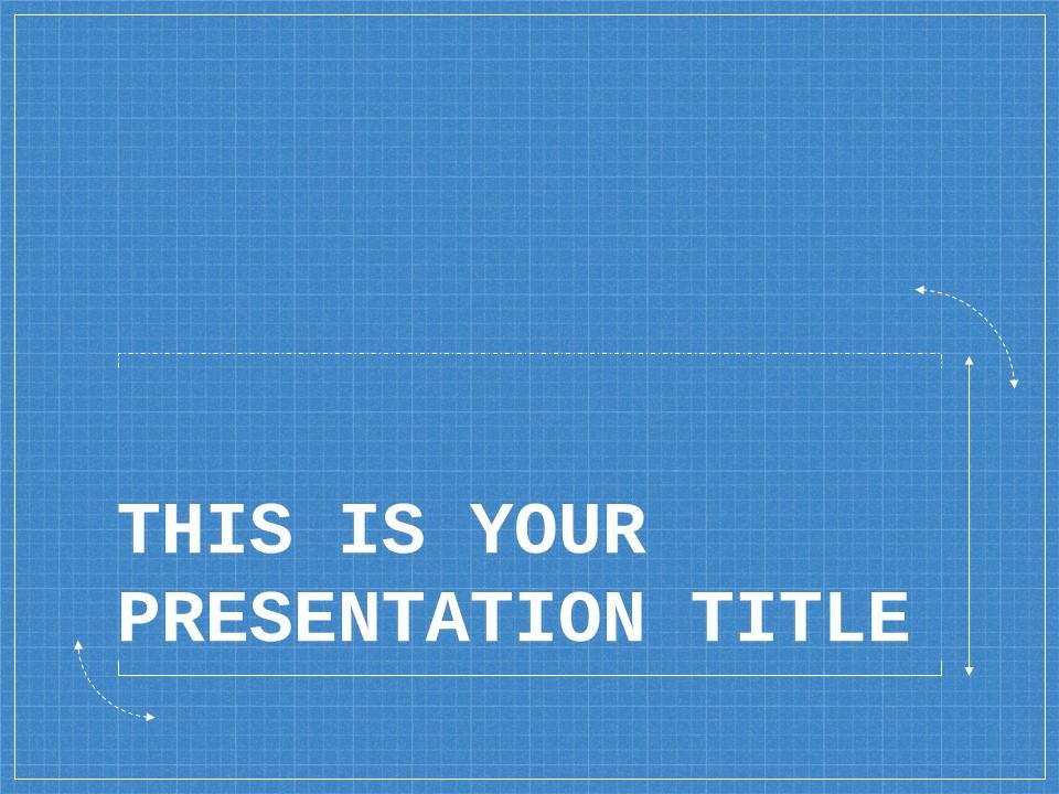 蓝色网格科技互联网风格PPT模板下载_预览图1
