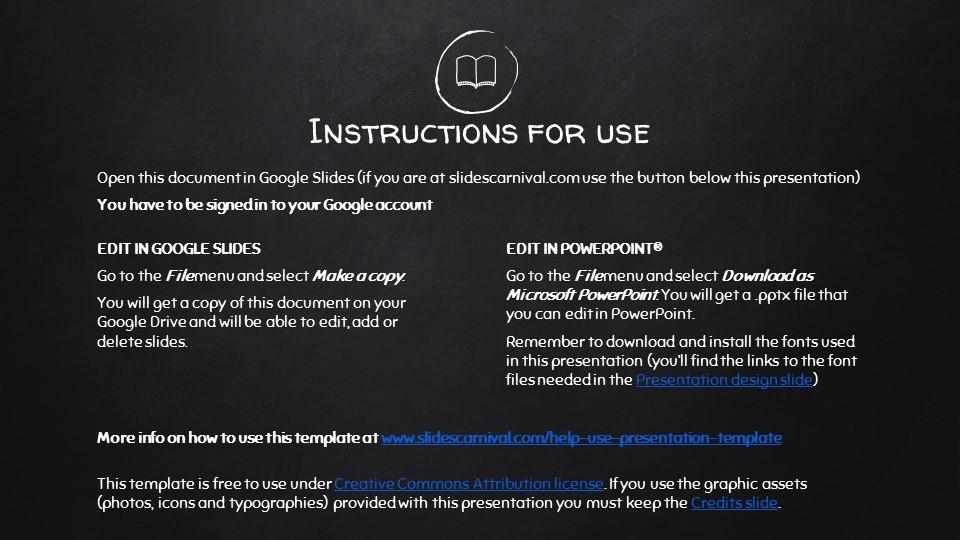 黑板可爱写意手写铅笔字/粉笔字风格PPT模板下载_预览图2