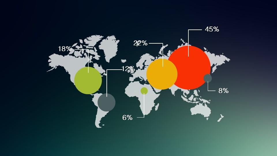 世界地图上布满散点图的数据分析PPT_预览图1