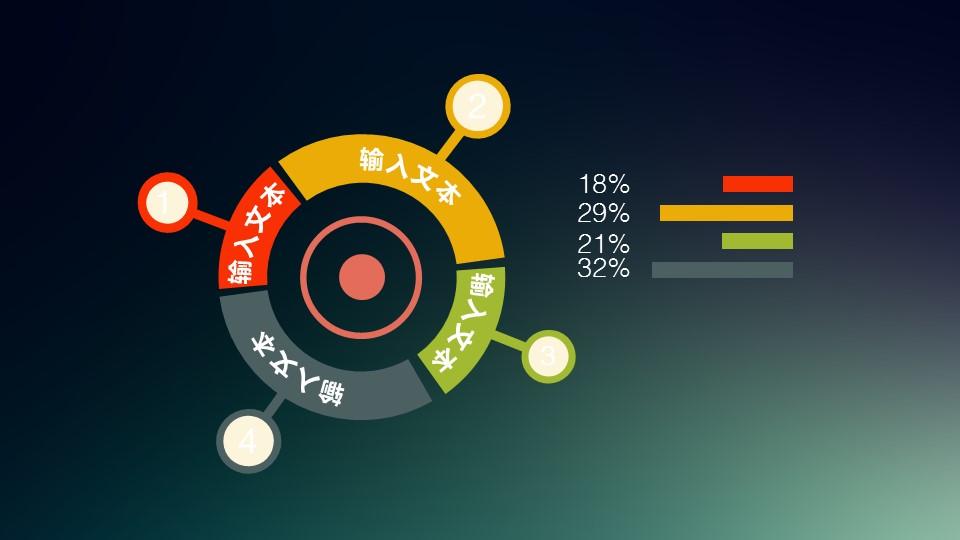 多彩色扁平化4部分环形结构并列关系PPT素材模板_预览图1