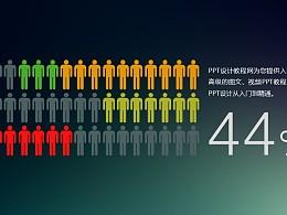 由一排排小人图标组成的信息可视化数据图表PPT模板