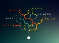 特色树状结构组合关系PPT模板下载