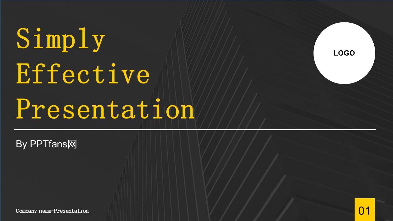 商务汇报工作总结简洁模板PowerPoint下载_预览图1
