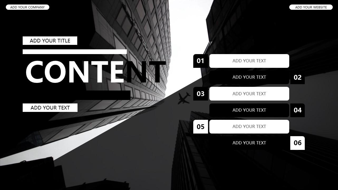 黑白时尚都市商务PPT模板_预览图2
