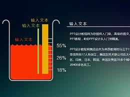 用烧杯不同水位表示不同数值的PPT模板下载