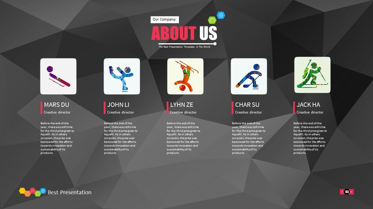 时尚黑色晶体团队介绍PowerPoint模板下载_预览图5