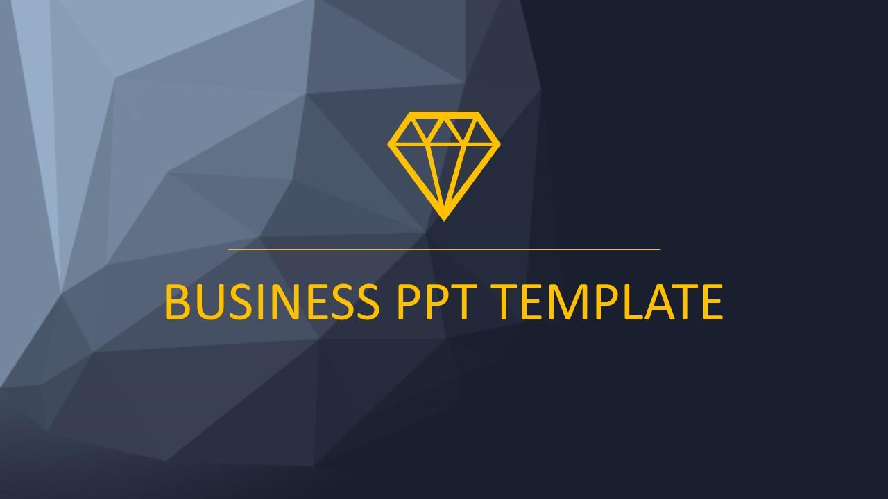 黑色多边形背景时尚PowerPoint模板下载_预览图1