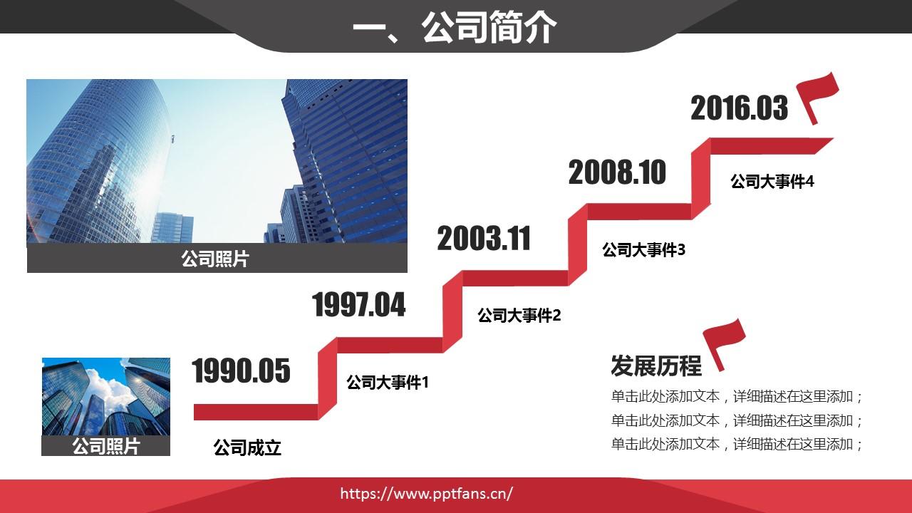 经典红黑简约商务公司介绍PPT模版_预览图4
