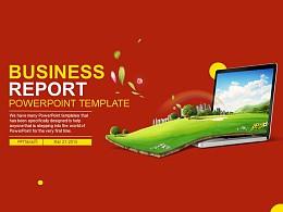中國紅商業報告PPT模板下載