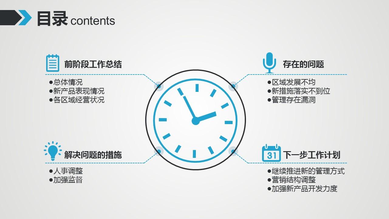蓝灰时间主题动态PPT模板下载_预览图2