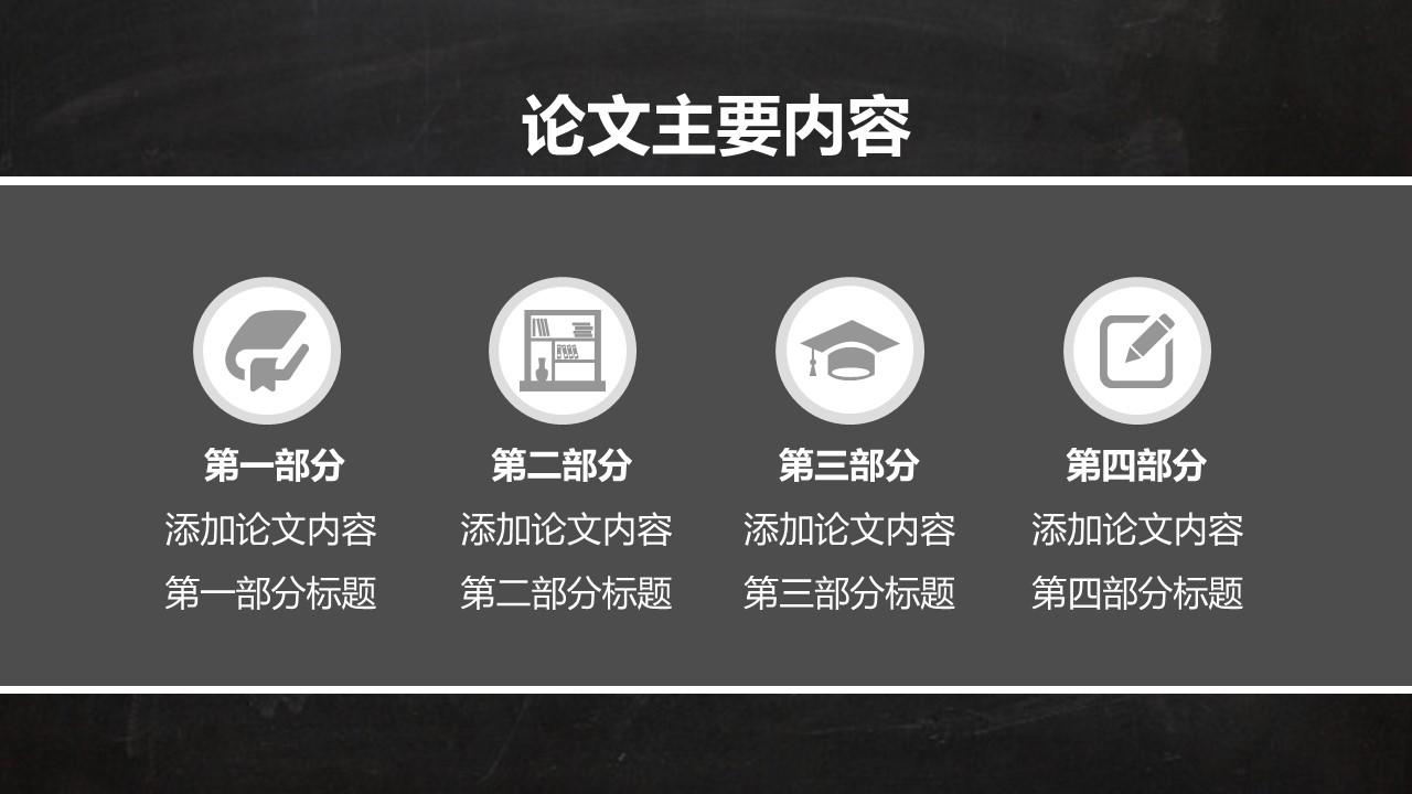 校园黑板风格毕业论文答辩通用PPT模板_预览图4