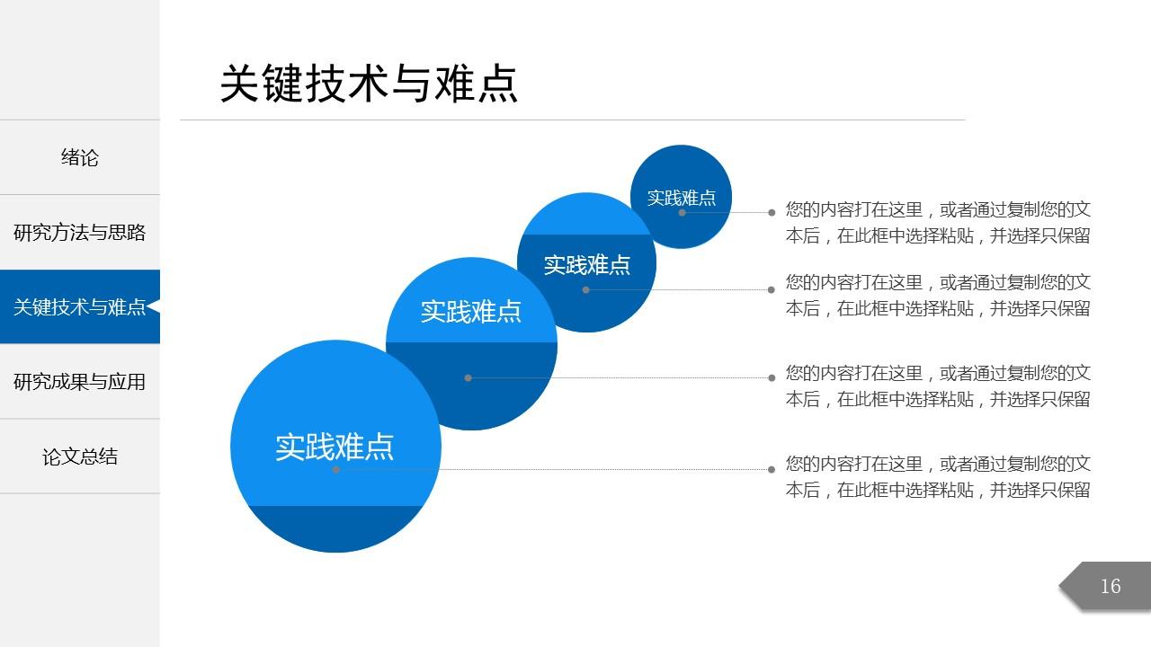 模板概述 该PPT共计27,颜色以蓝色为主。 详细介绍 该PPT分为5个 章节,分别为绪论、研究方法与思路、关键技术与实践难点、研究结果与应用、论文总结。您可以根据此目录来整理您的论文,也可以根据实际需要适当修改目录。PPT的颜色以蓝色为主,整体的风格简洁,图表丰富,每一个结构图都是精心设计的,您可以选择使用。您可以在封面修改论文题目、作者、院系等相关信息。 适用范围 该模板适用于论文答辩/开题报告等。 该PPT模板已经帮助了77人。