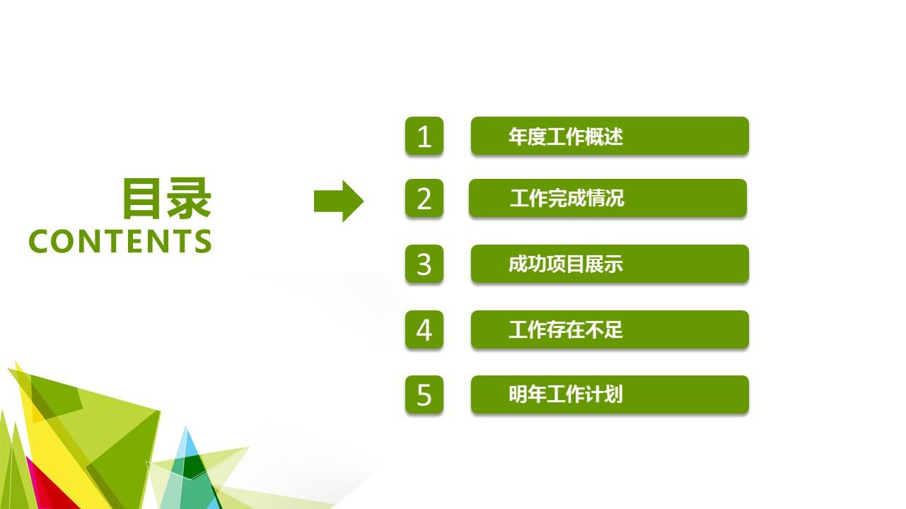 该PPT分为6个 章节,分别为课题综述、目前现状、项目综述、研究结论、参考文献。您可以根据此目录来整理您的论文,也可以根据实际需要适当修改目录。PPT的颜色以绿色为主,封面有许多彩色的多边形。您可以在封面修改论文题目、作者、院系等相关信息。