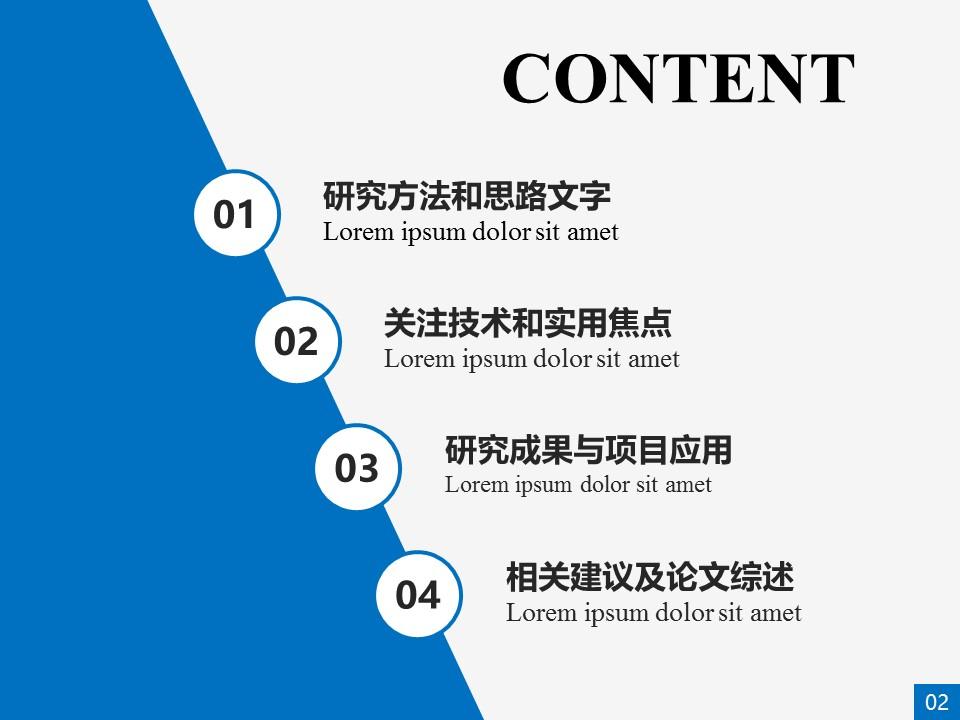 本科蓝色学术论文答辩ppt模板_预览图2