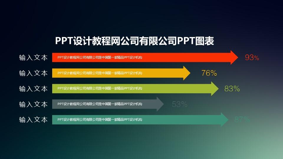 扁平化多彩色带箭头的条形图PPT模板_预览图1