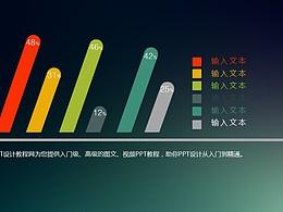 傾斜的個性柱狀圖PPT素材