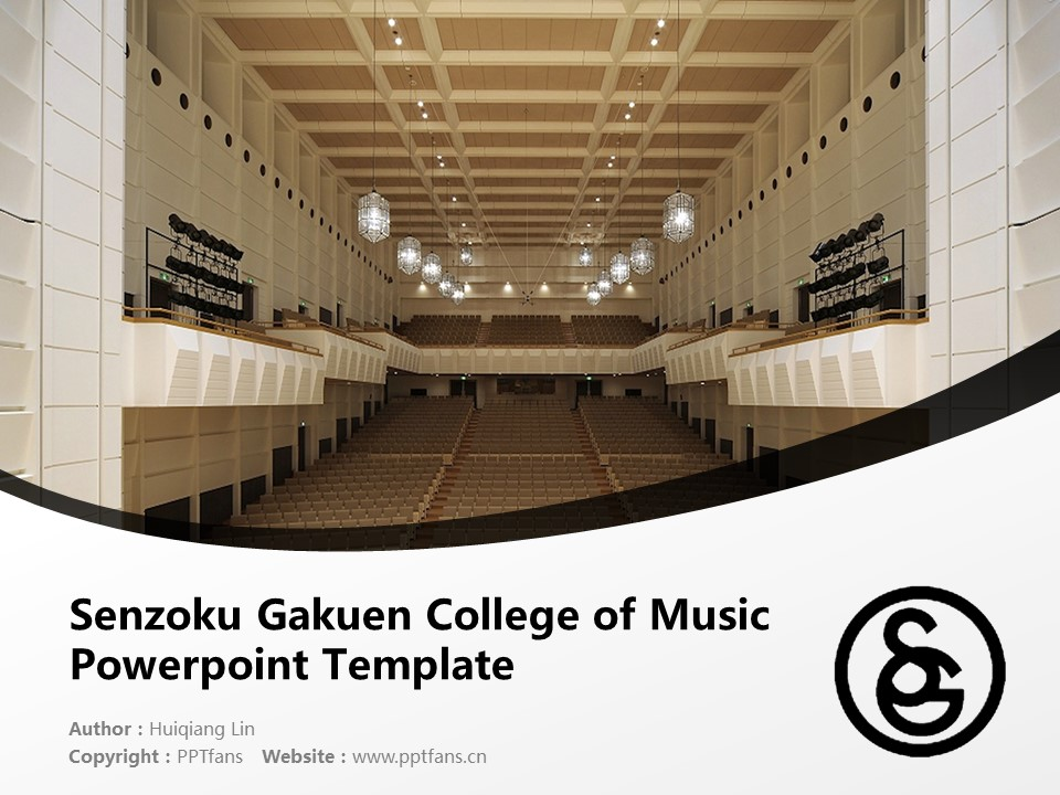 Senzoku Gakuen College of Music Powerpoint Template Download | 洗足学园音乐大学PPT模板下载_幻灯片1