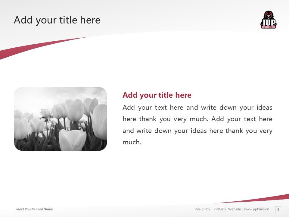 Indiana University of Pennsylvania Powerpoint Template Download | 宾州印第安那大学PPT模板下载_slide4