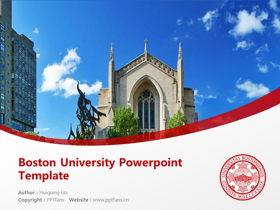 Boston University Powerpoint Template Download | 波士顿大学PPT模板下载_slide1