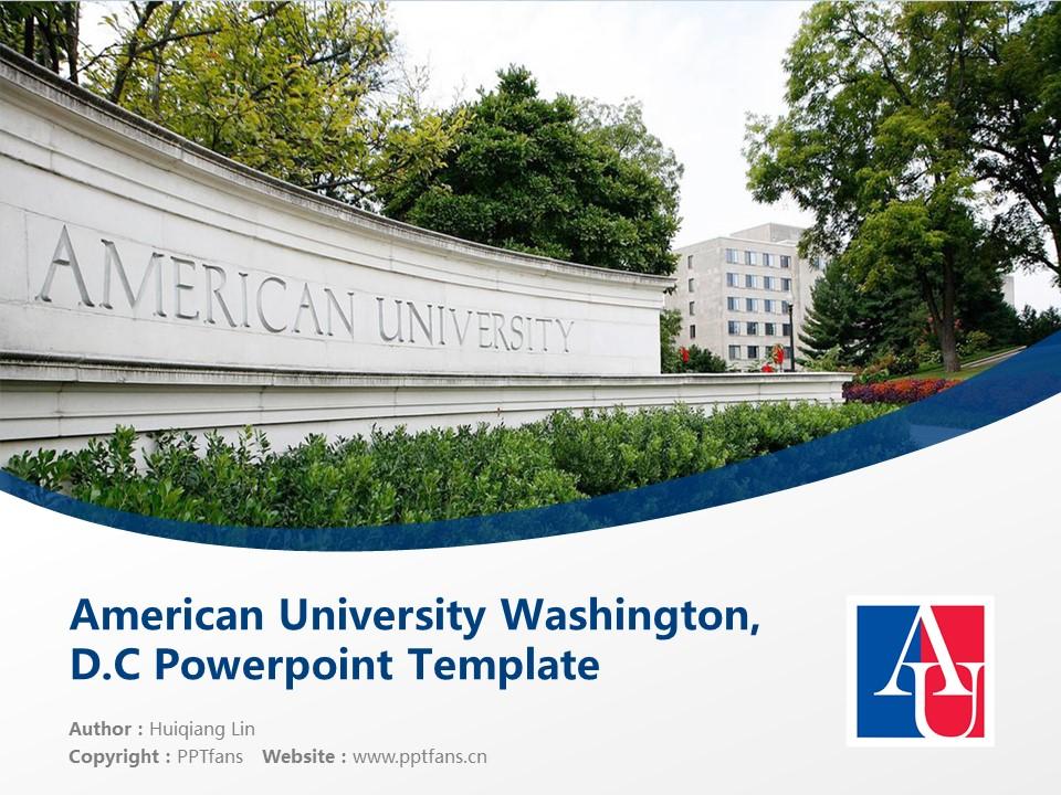 American University Washington, D.C. Powerpoint Template Download | 美国大学PPT模板下载_slide1