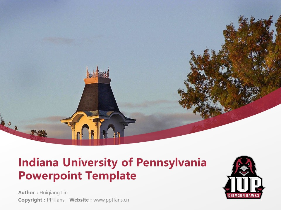 Indiana University of Pennsylvania Powerpoint Template Download | 宾州印第安那大学PPT模板下载_幻灯片1