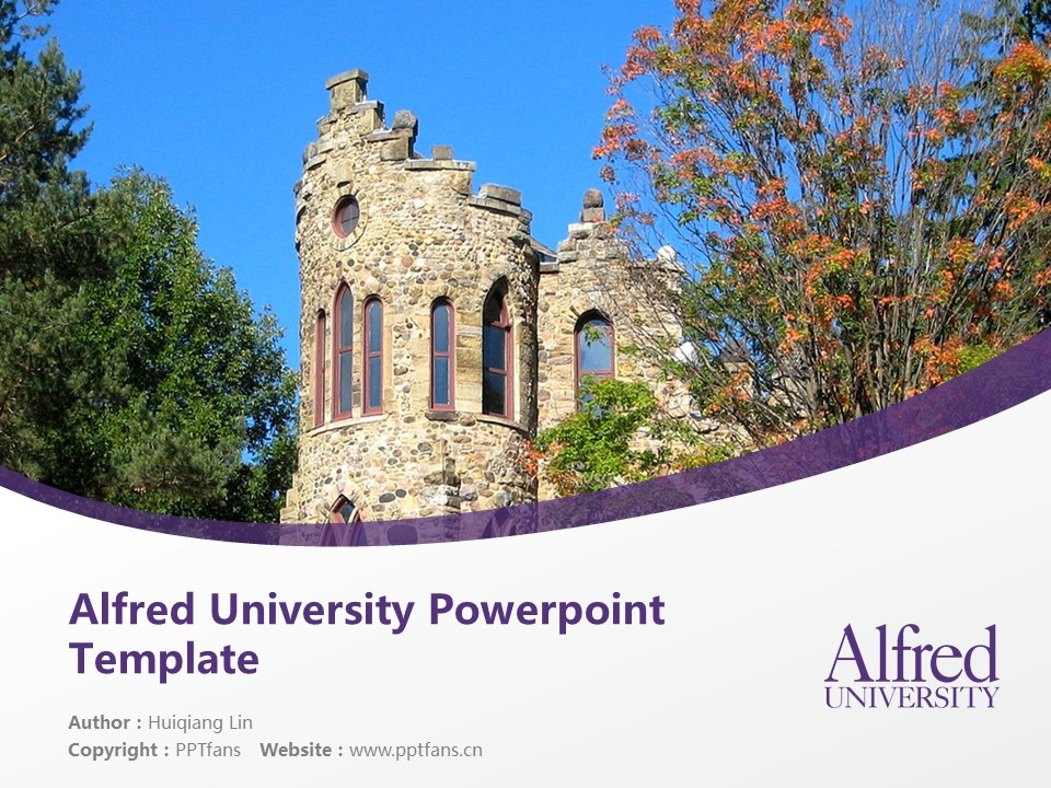 Alfred University Powerpoint Template Download | 美国艾尔佛雷德大学PPT模板下载_slide1