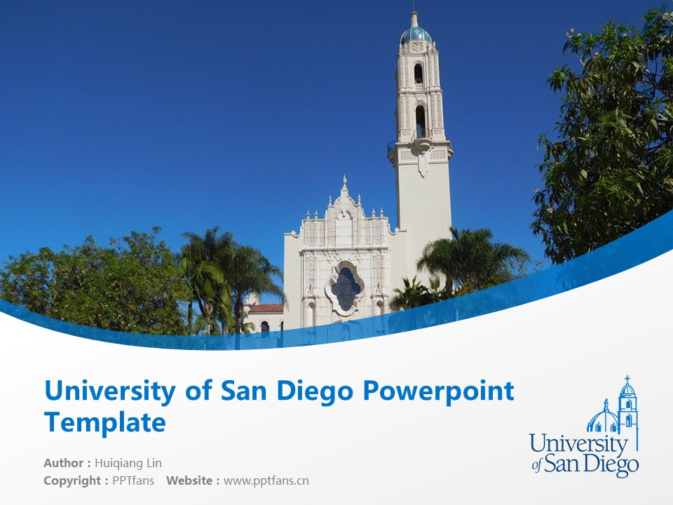 University of San Diego Powerpoint Template Download | 圣地亚哥大学PPT模板下载_slide1